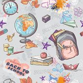 Seamless texture on a school theme with the image of a backpack globe paint and other items