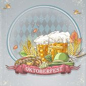 Image festive Oktoberfest Background for your text with glasses of beer a bagel a cap hops and autum