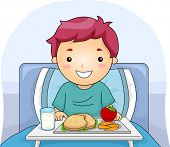 Illustration Featuring a Boy With a Meal Tray in Front of Him