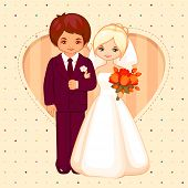 vector cartoon illustration of the groom and bride
