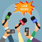 bright colored conceptual illustration on the theme of breaking news