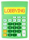 Calculator With Lobbying On Display Isolated