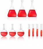 Science Test Tube And Beaker With Red Chemical Liquid Icon Set