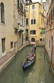 Gondola In Narrow Canal