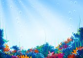 Vector background with underwater cave