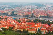 Aerial View Over The Vltava River In Prague, Czech Republic