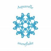 Aquarelle Snowflake, Hand Drawn Watercolor Winter Symbol
