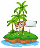 A monkey in the island with an empty board on a white background