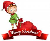 Elf pulling sack of toys Christmas label