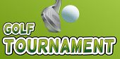 Golf tournament text with club and ball
