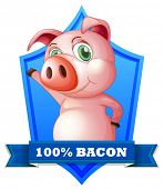 One hundred percent bacon label with pig