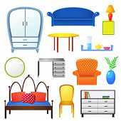 Set vector elements furniture isolated from the background