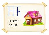 A letter H for house on a white background