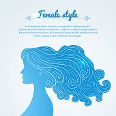 Vector illustration female profile with long hair and space for text