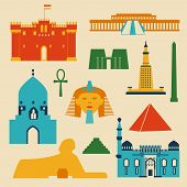 foto of ankh  - Landmarks of Egypt vector colorful flat objects set - JPG