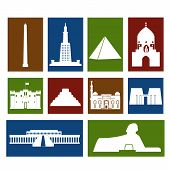 stock photo of ankh  - Landmarks of Egypt vector colorful simple flat  rectangular icons set - JPG