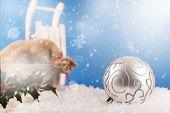 Christmas Balls And Santa`s Pack