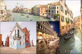 Collage of landmarks in Venice