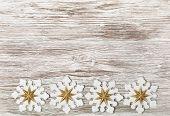 Christmas Wooden Grunge Background, Snowflake Toy Decoration, White Wood Board, Xmas Decorative