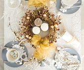 Christmas Table Setting With Traditional Holiday Decorations