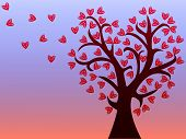 Love Tree With Leaves Of Hearts.