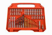 Set Of Metal Drill Bits In Orange Box