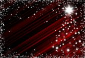 Christmas Red Background With Snowflakes Frame And Christmas Tree