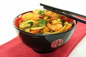 stock photo of stir fry  - Asian noodles with prawns and stir - JPG