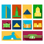 picture of ankh  - Landmarks of Egypt vector colorful simple flat  rectangular icons  with long drop shadows set - JPG