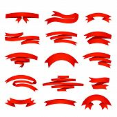 Vector red ribons set, isolaten on background