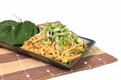 Spicy Pork Fried Rice On Napery Isolated On White Background