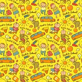 Vector seamless pattern of school, cheerful background with children