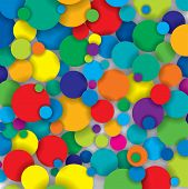 Vector Pattern Of Colorful Circles With Shadows