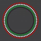 A vector circular border made with United Arab Emirates flag colors on dark background.