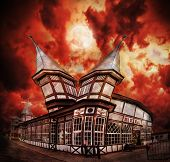 Abstract Fantasy Haunted House With Dramatic Sky.