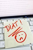 a memo is on the keyboard of a computer reminder: diet