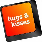 Hugs And Kisses Words On Computer Keyboard Keys