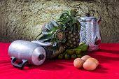 Still Life Classic Teapot, Banana, Egg, Pineapple