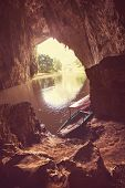 Cave on BaBe Lake in Vietnam
