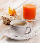 Coffee Cup, Orange Juice And Toast