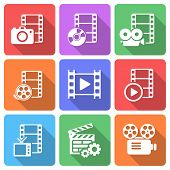 Trendy flat film icon pack. Vector