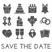 Vector save the date set. Flat design