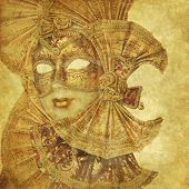 Golden baroque Venerian mask background