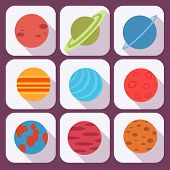 Solar system and space objects. Vector set in flat style