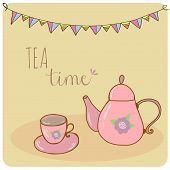 Card teapot and cup pastel hand drawn style