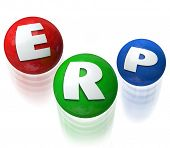 ERP letters on three balls being juggled to illustrate Enterprise Resource Planning software or application for managing many elements of your business or company