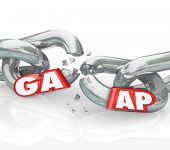 GAAP acronym or abbreviation 3d letters on a broken chain to illustrate a violation in generally accepted accounting principles