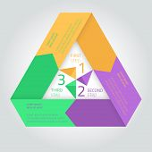 Flat infographic triangle template with arrows