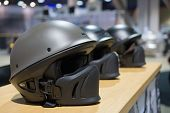 Motorcycle Helmets On Display