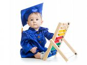 Kid with abacus toy. Concept of early learning baby